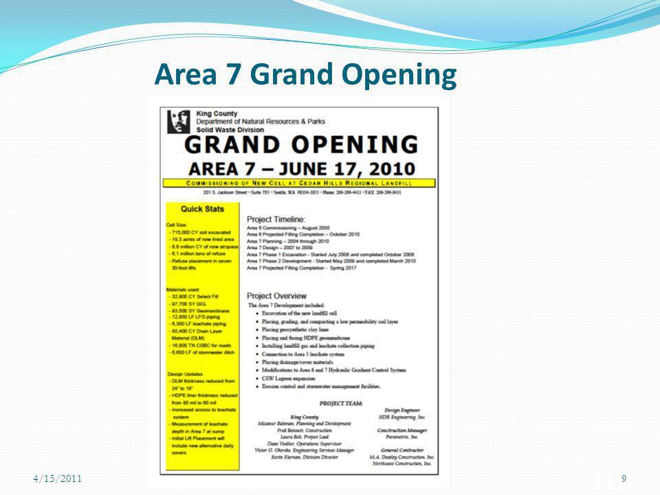 Area 7 Development Timeline 4/15/201110 20062007200820092010 123456789 10101112123456789 10101112123456789 10101112123456789 101011121234 Pre-design (Initial Plan) Pre-Design (Actual) Detailed Design (Initial Plan) Detailed Design (Phase 1 & Phase 2) Bidding (Initial Plan ) Bidding (Phase 1 & Phase 2) Construction (Initial Plan) Construction (Phase 1 & Phase 2) Planned Actual
