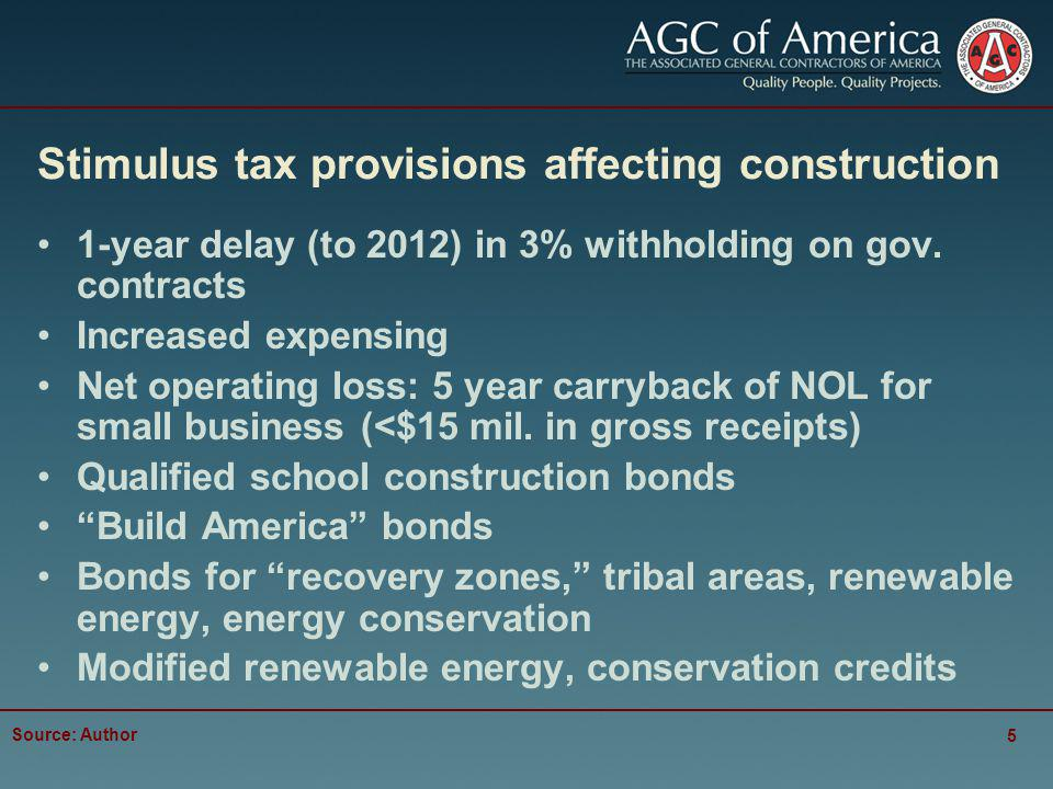 Stimulus tax provisions affecting construction 1-year delay (to 2012) in 3% withholding on gov.