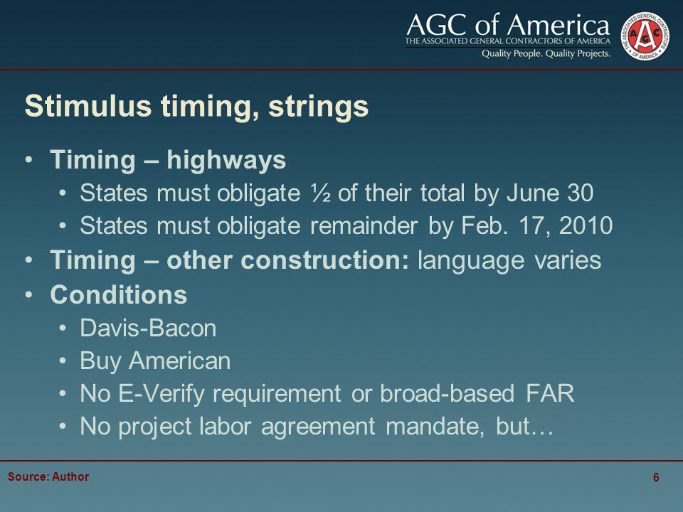 Stimulus timing, strings Timing – highways States must obligate ½ of their total by June 30 States must obligate remainder by Feb.