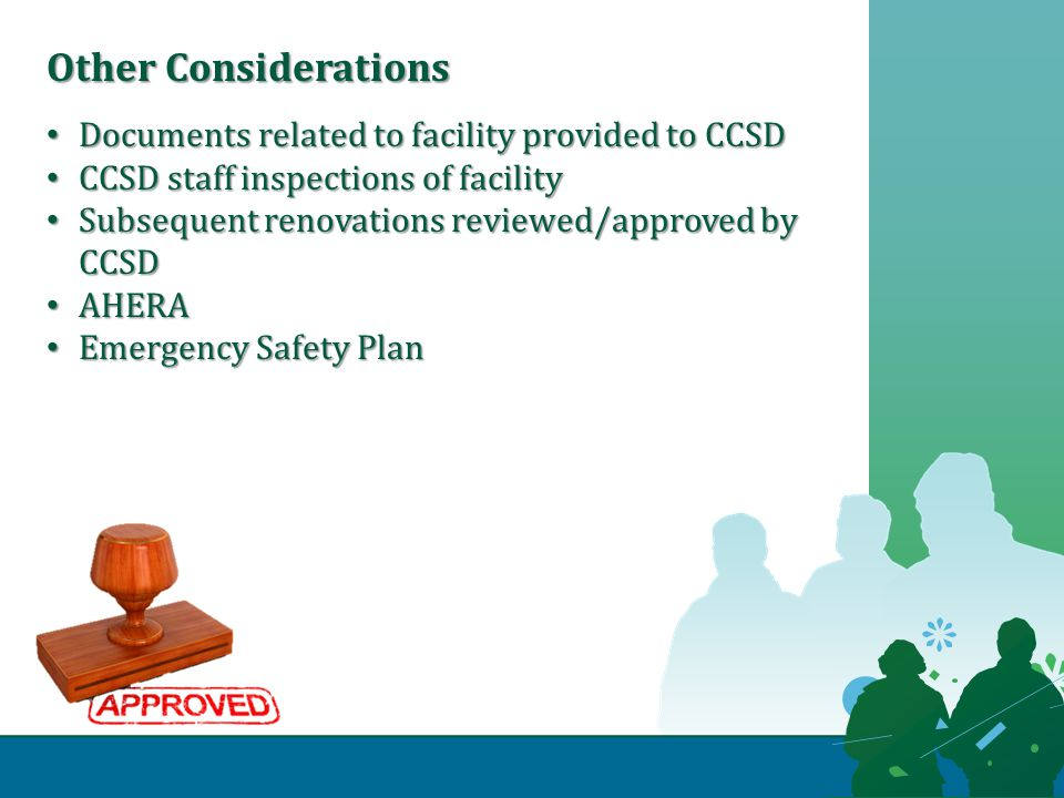 Documents related to facility provided to CCSD Documents related to facility provided to CCSD CCSD staff inspections of facility CCSD staff inspections of facility Subsequent renovations reviewed/approved by CCSD Subsequent renovations reviewed/approved by CCSD AHERA AHERA Emergency Safety Plan Emergency Safety Plan Other Considerations