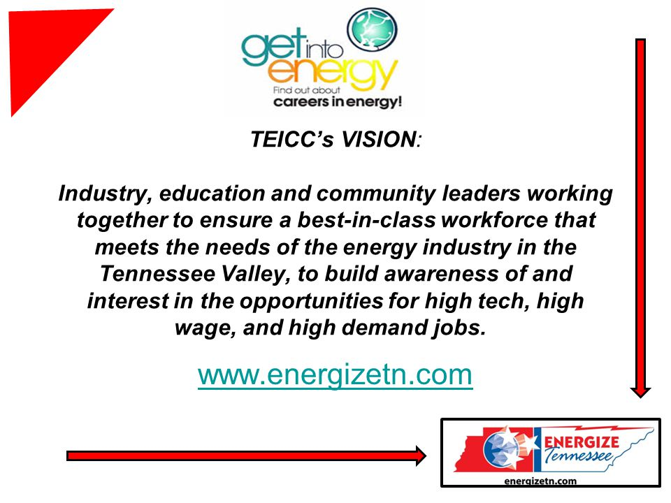 TEICCs VISION: Industry, education and community leaders working together to ensure a best-in-class workforce that meets the needs of the energy industry in the Tennessee Valley, to build awareness of and interest in the opportunities for high tech, high wage, and high demand jobs.