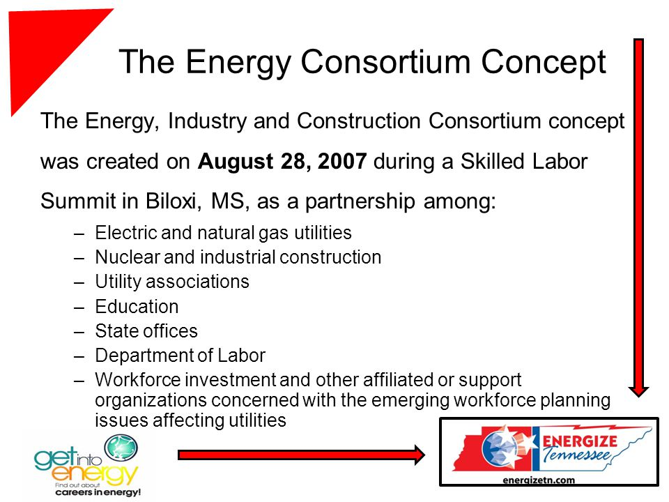 The Energy Consortium Concept The Energy, Industry and Construction Consortium concept was created on August 28, 2007 during a Skilled Labor Summit in Biloxi, MS, as a partnership among: –Electric and natural gas utilities –Nuclear and industrial construction –Utility associations –Education –State offices –Department of Labor –Workforce investment and other affiliated or support organizations concerned with the emerging workforce planning issues affecting utilities