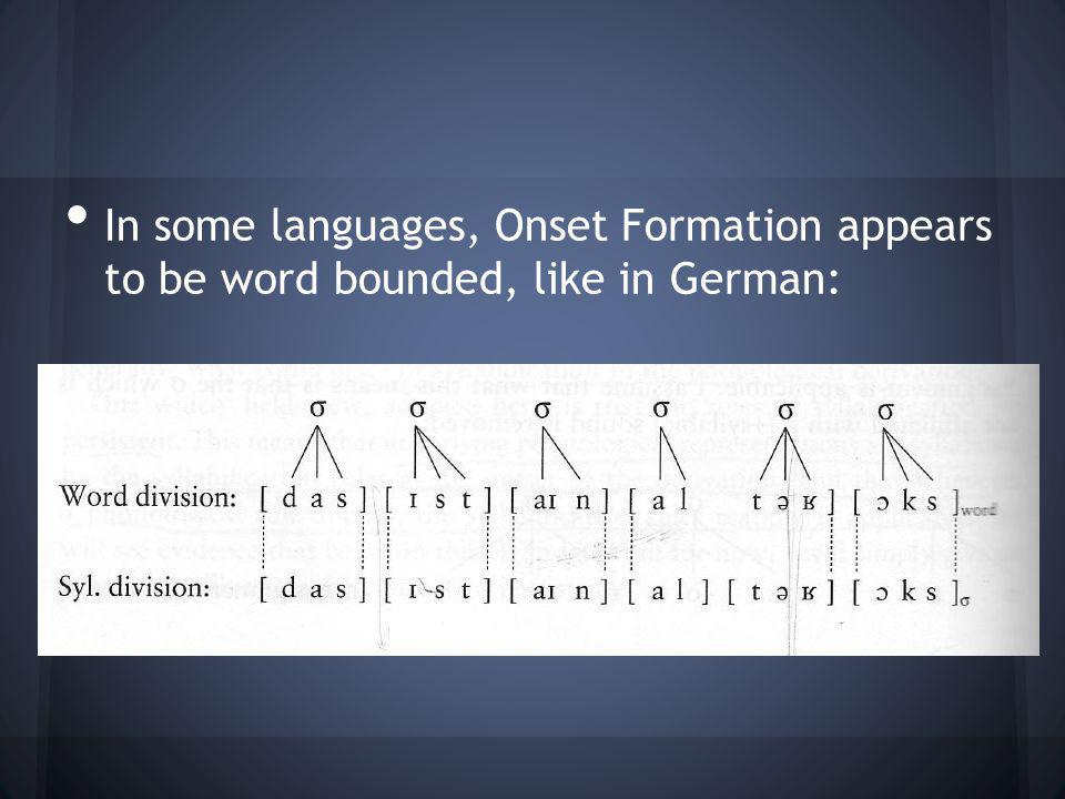 In some languages, Onset Formation appears to be word bounded, like in German: