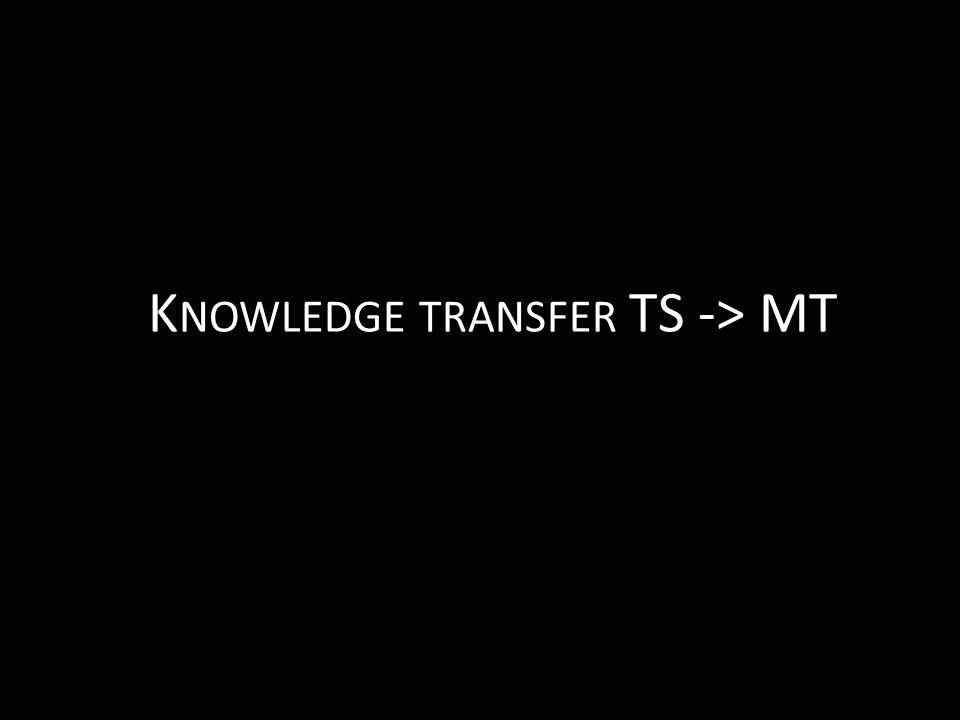 K NOWLEDGE TRANSFER TS -> MT