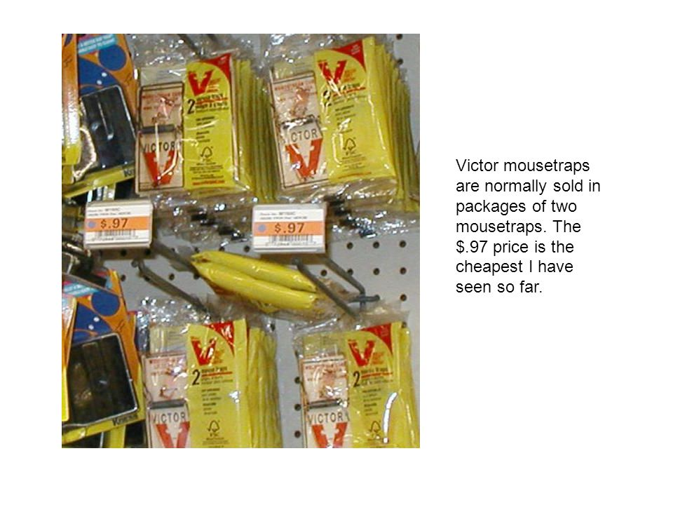 Victor mousetraps are normally sold in packages of two mousetraps.