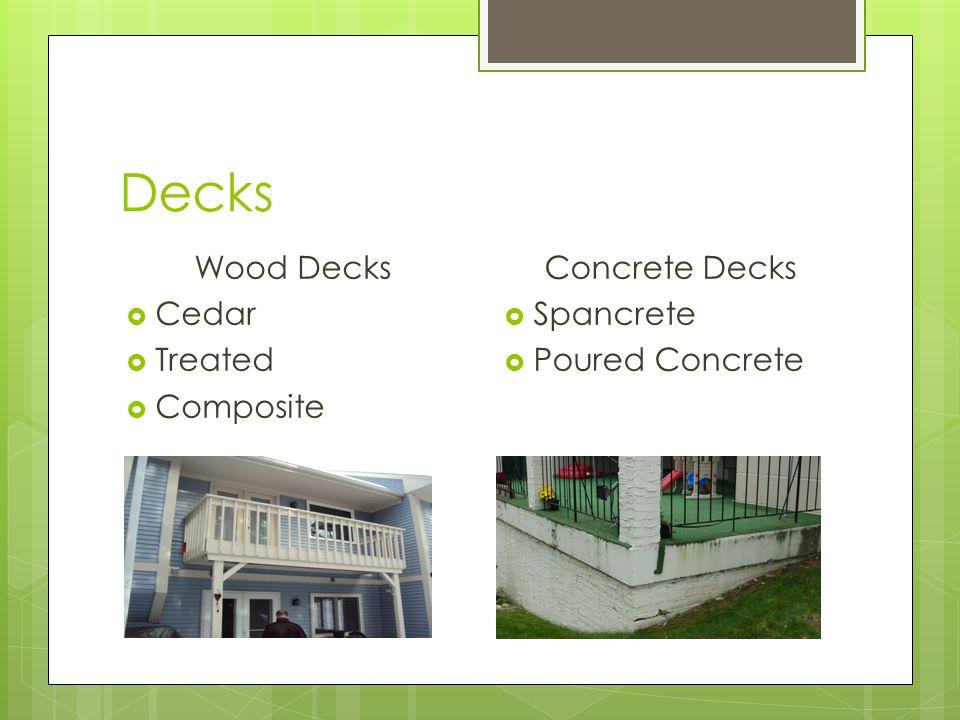 Decks Wood Decks Cedar Treated Composite Concrete Decks Spancrete Poured Concrete