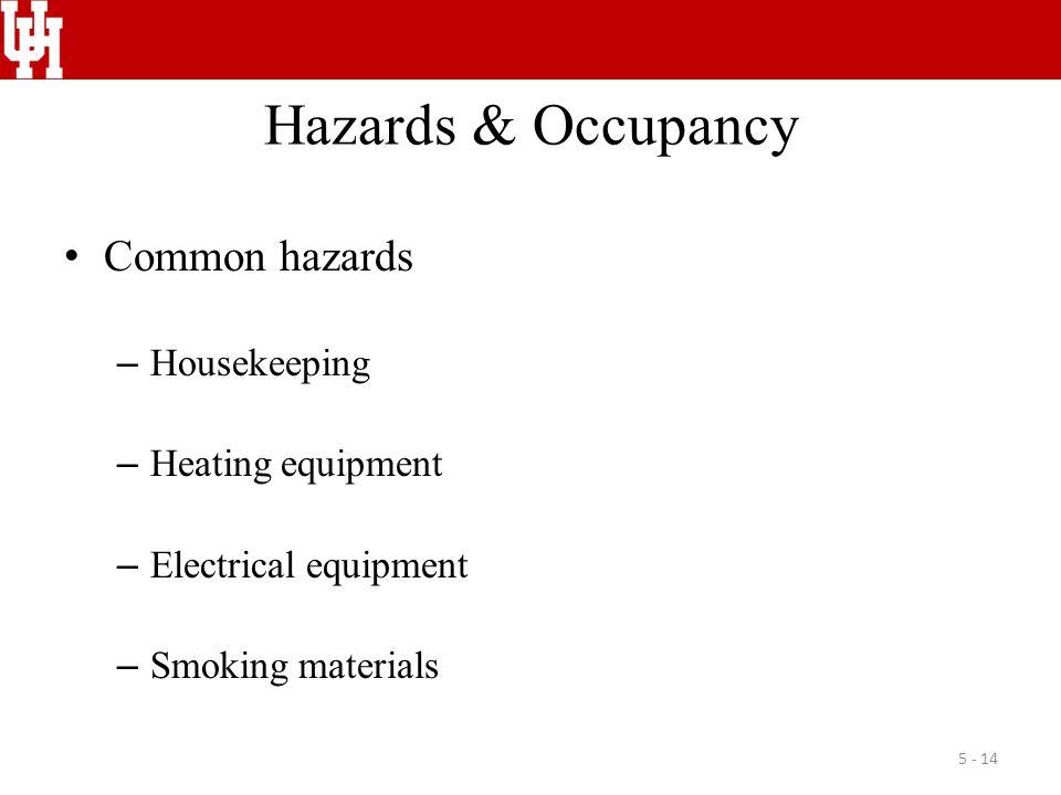 Hazards & Occupancy Common hazards – Housekeeping – Heating equipment – Electrical equipment – Smoking materials 5 - 14