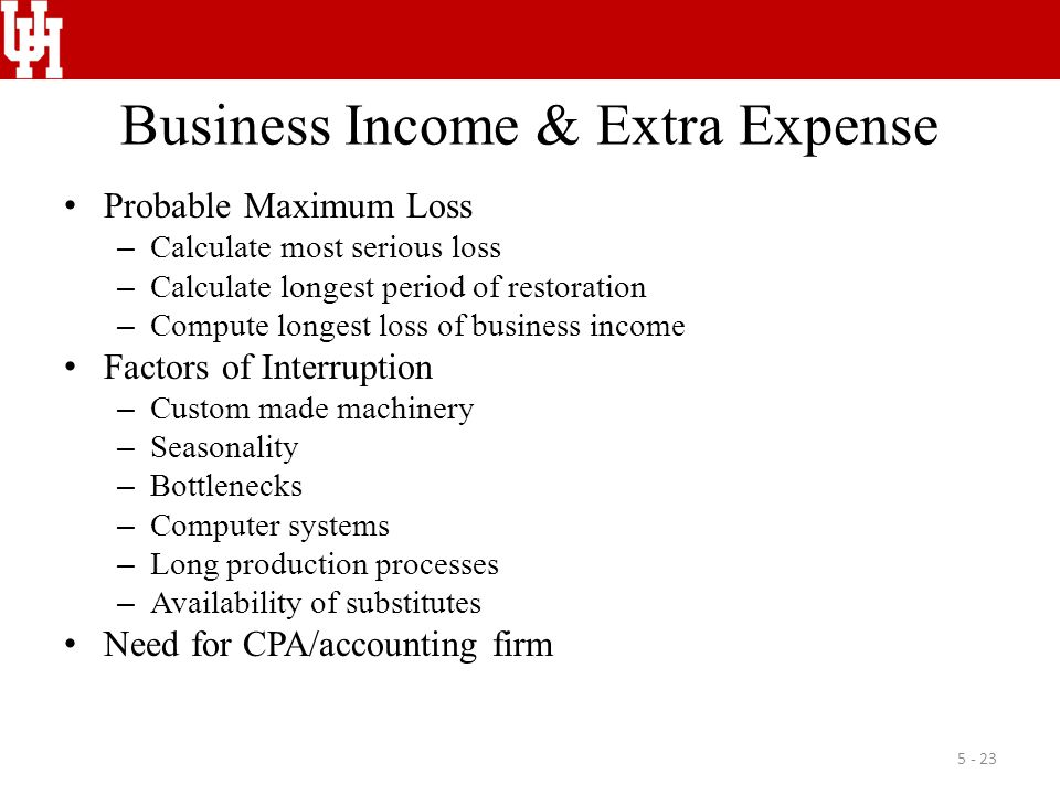 Business Income & Extra Expense Probable Maximum Loss – Calculate most serious loss – Calculate longest period of restoration – Compute longest loss of business income Factors of Interruption – Custom made machinery – Seasonality – Bottlenecks – Computer systems – Long production processes – Availability of substitutes Need for CPA/accounting firm 5 - 23
