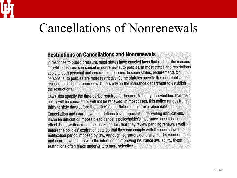 Cancellations of Nonrenewals 5 - 42