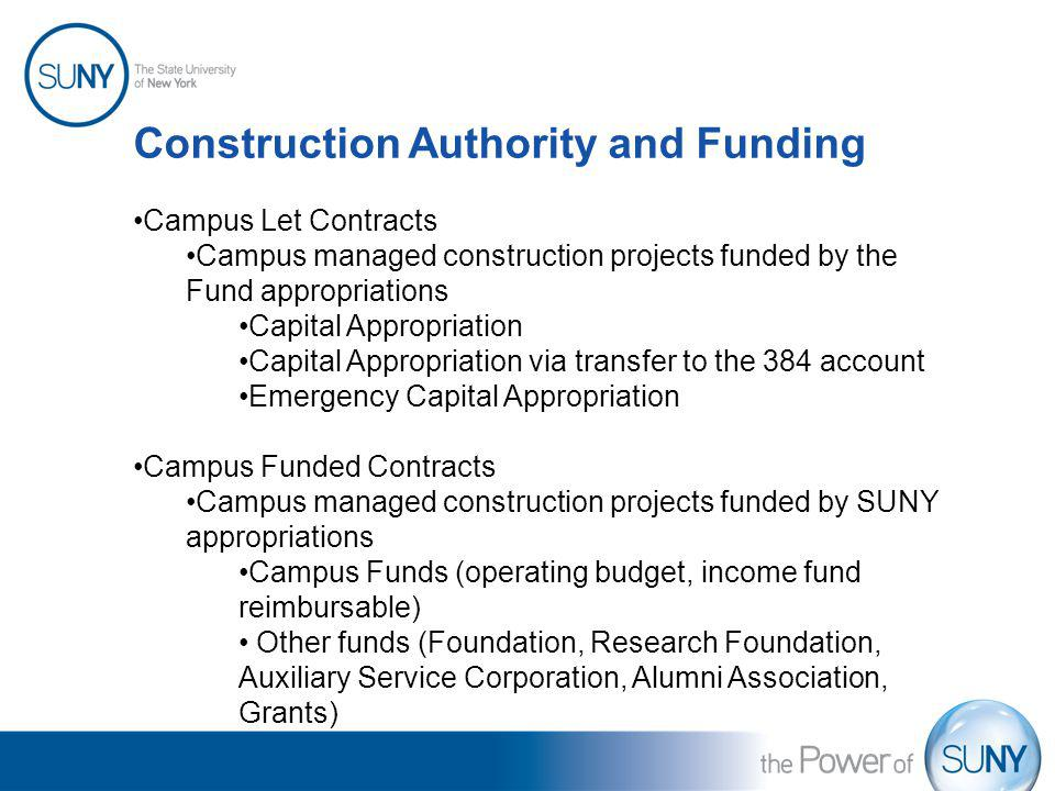 Construction Authority and Funding Campus Let Contracts Campus managed construction projects funded by the Fund appropriations Capital Appropriation C