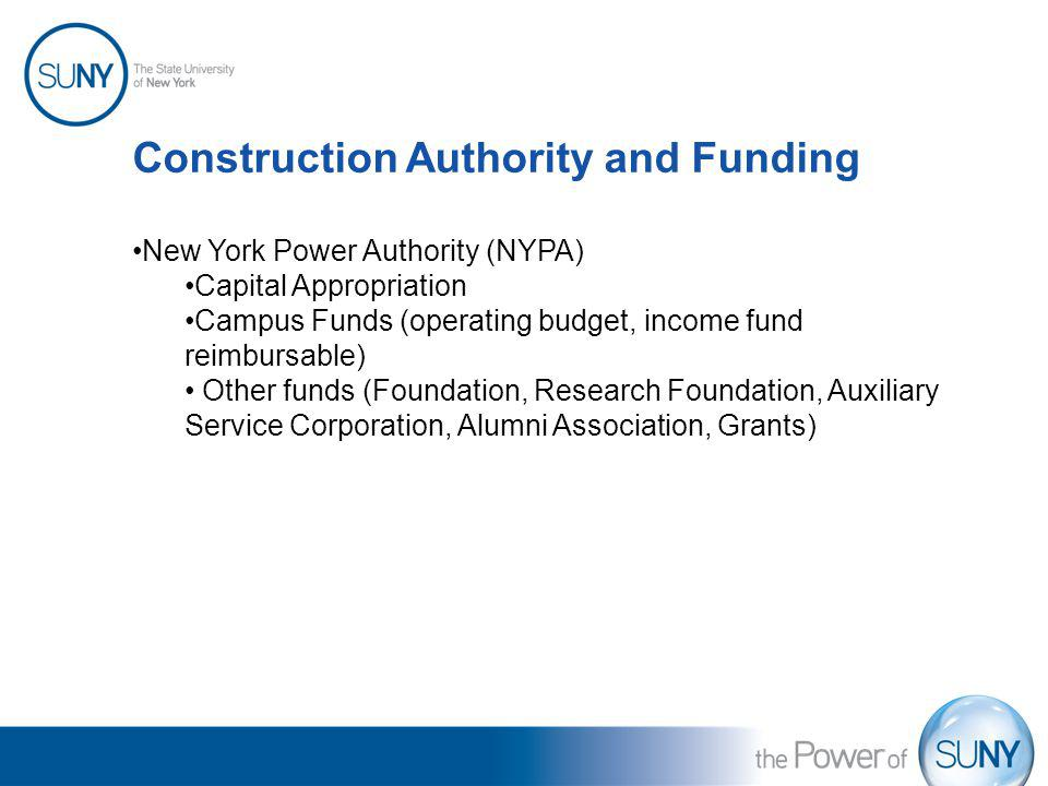 Construction Authority and Funding New York Power Authority (NYPA) Capital Appropriation Campus Funds (operating budget, income fund reimbursable) Oth