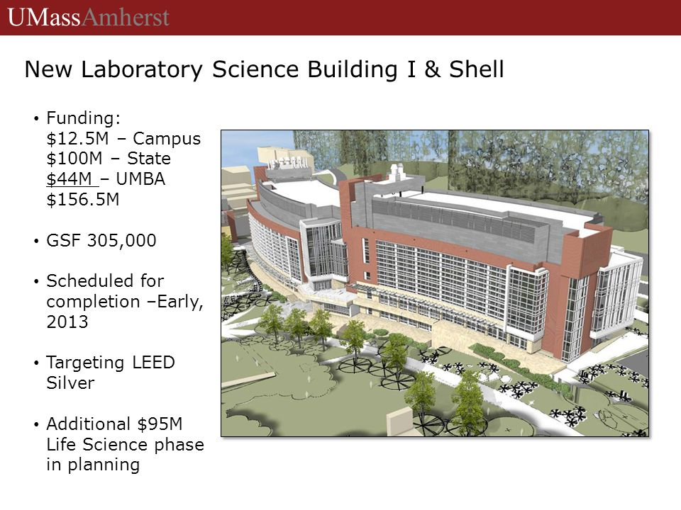New Laboratory Science Building I & Shell Funding: $12.5M – Campus $100M – State $44M – UMBA $156.5M GSF 305,000 Scheduled for completion –Early, 2013 Targeting LEED Silver Additional $95M Life Science phase in planning UMassAmherst