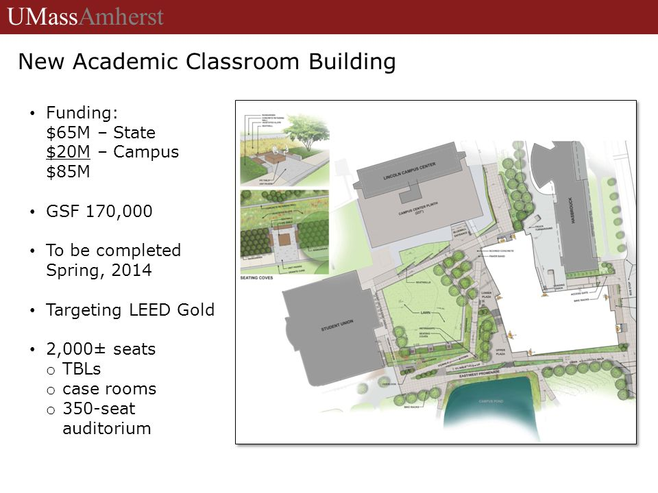 University of Massachusetts Amherst Funding: $65M – State $20M – Campus $85M GSF 170,000 To be completed Spring, 2014 Targeting LEED Gold 2,000± seats o TBLs o case rooms o 350-seat auditorium UMassAmherst