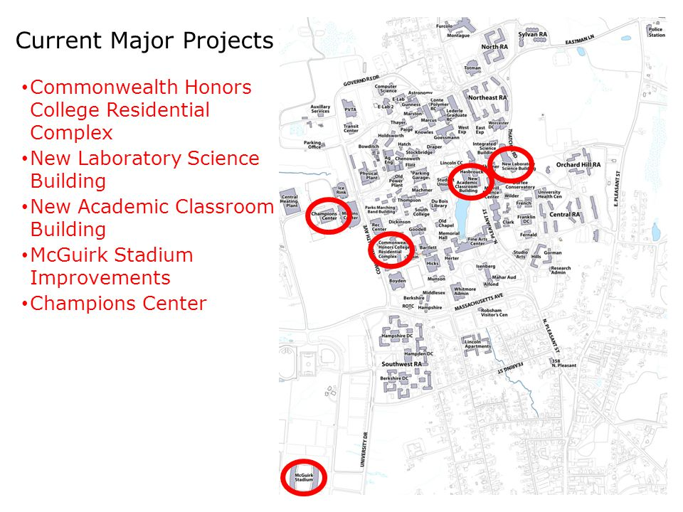 Current Major Projects Commonwealth Honors College Residential Complex New Laboratory Science Building New Academic Classroom Building McGuirk Stadium Improvements Champions Center