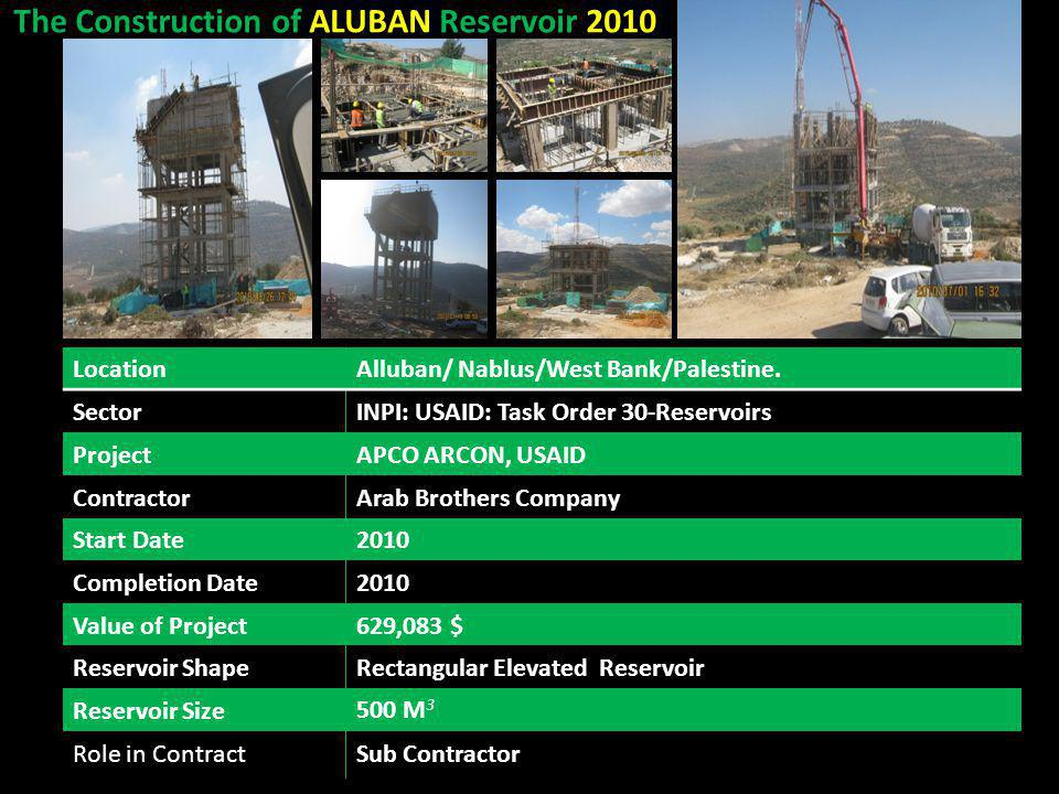 The Construction of ALUBAN Reservoir 2010 Alluban/ Nablus/West Bank/Palestine.Location INPI: USAID: Task Order 30-ReservoirsSector APCO ARCON, USAIDPr