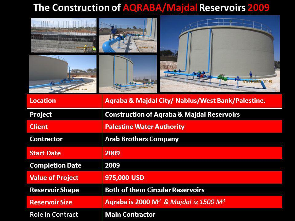 The Construction of AQRABA/Majdal Reservoirs 2009 Aqraba & Majdal City/ Nablus/West Bank/Palestine.Location Construction of Aqraba & Majdal Reservoirs