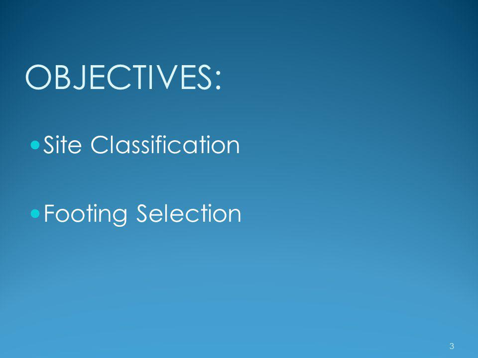 OBJECTIVES: Site Classification Footing Selection 3