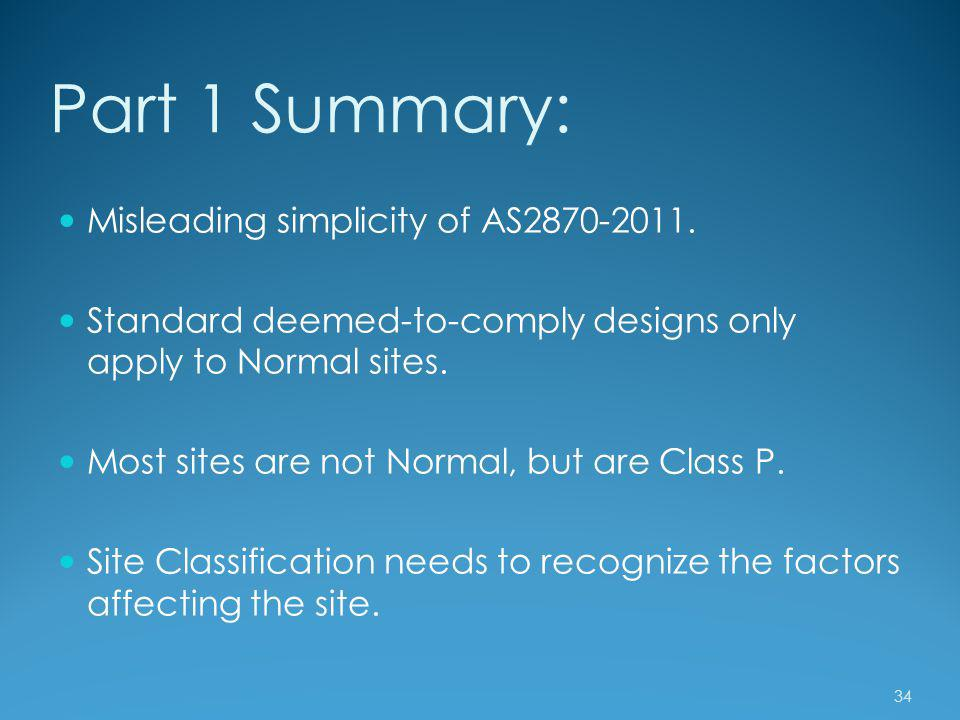 Part 1 Summary: Misleading simplicity of AS2870-2011.
