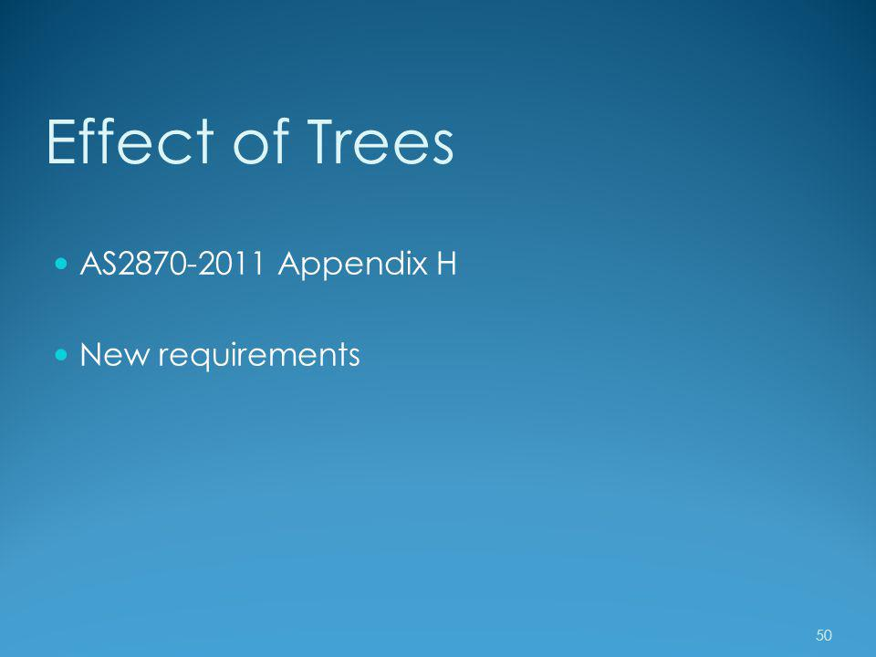 Effect of Trees AS2870-2011 Appendix H New requirements 50