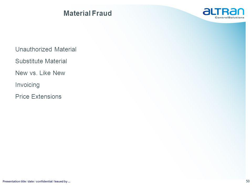 Material Fraud Unauthorized Material Substitute Material New vs.