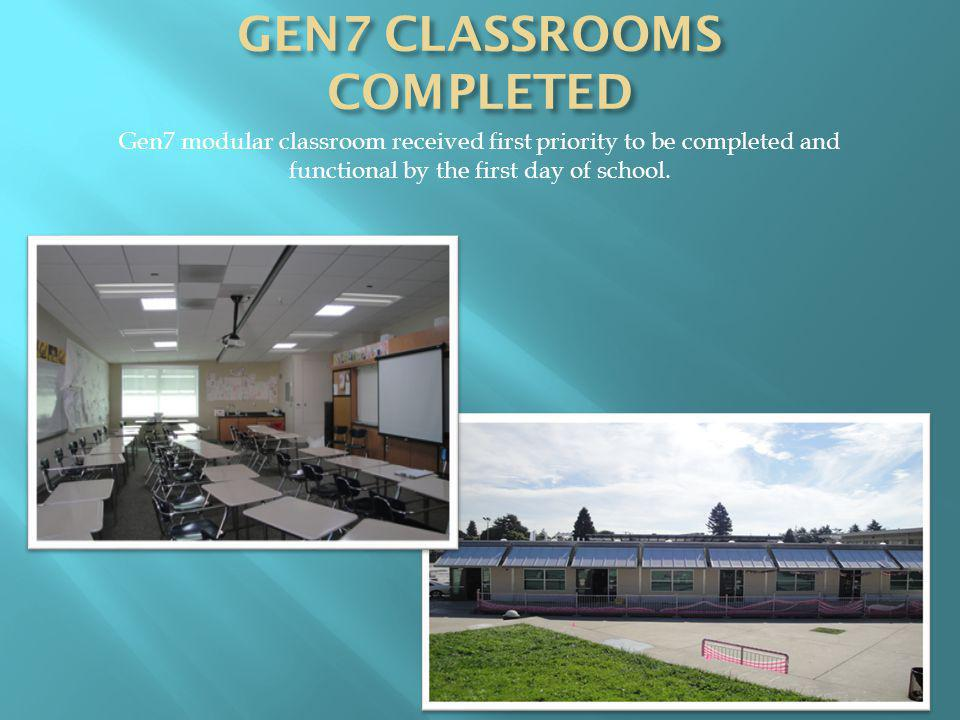 Gen7 modular classroom received first priority to be completed and functional by the first day of school.