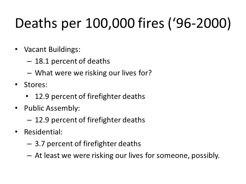 Deaths per 100,000 fires (96-2000) Vacant Buildings: – 18.1 percent of deaths – What were we risking our lives for? Stores: 12.9 percent of firefighte