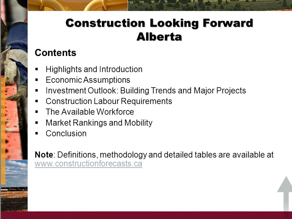 Construction Looking Forward 2012 Reports on the state of construction labour markets in Alberta from 2012 to 2020 are based on: a current macroeconomic and demographic scenario a current inventory of major construction projects the views and input of provincial LMI committees Introduction