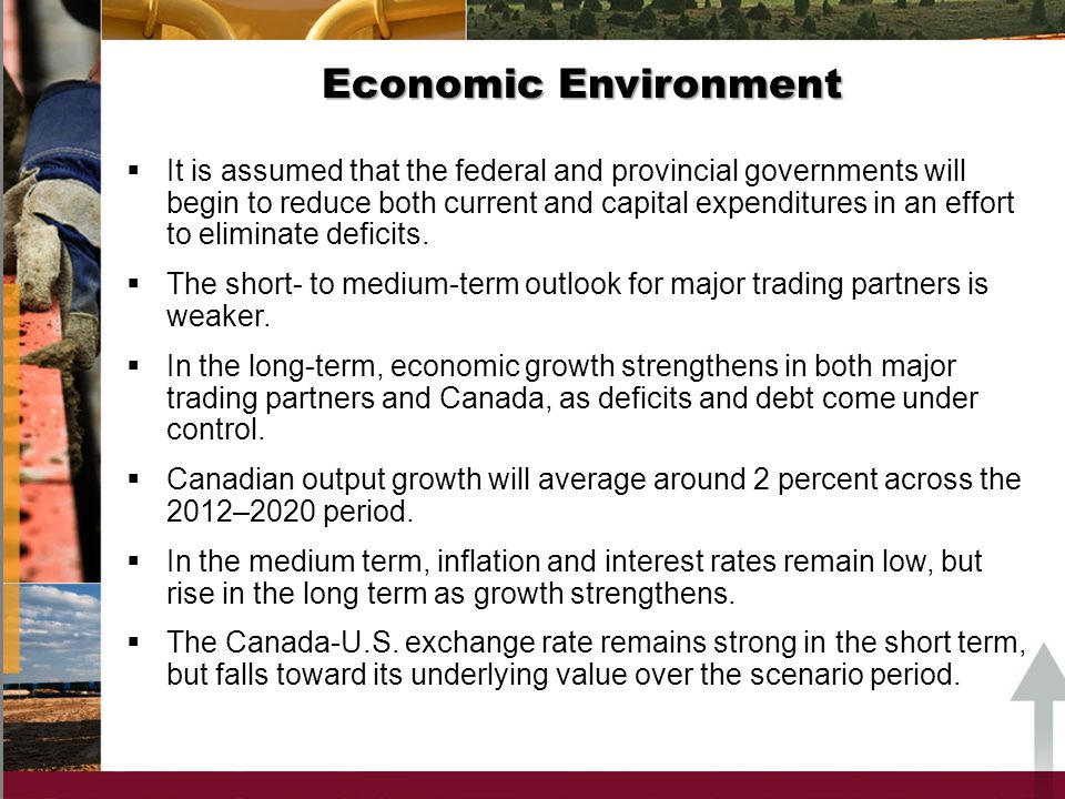 Economic Environment It is assumed that the federal and provincial governments will begin to reduce both current and capital expenditures in an effort to eliminate deficits.