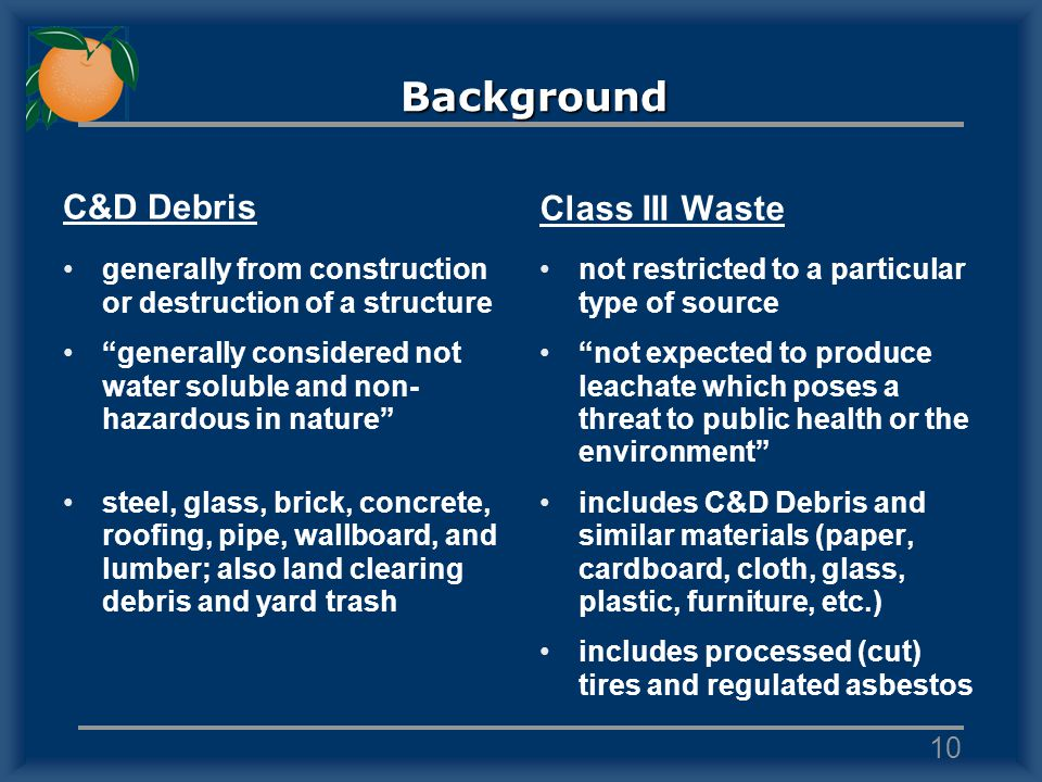 C&D Debris generally from construction or destruction of a structure generally considered not water soluble and non- hazardous in nature steel, glass, brick, concrete, roofing, pipe, wallboard, and lumber; also land clearing debris and yard trash Class III Waste not restricted to a particular type of source not expected to produce leachate which poses a threat to public health or the environment includes C&D Debris and similar materials (paper, cardboard, cloth, glass, plastic, furniture, etc.) includes processed (cut) tires and regulated asbestos 10 Background