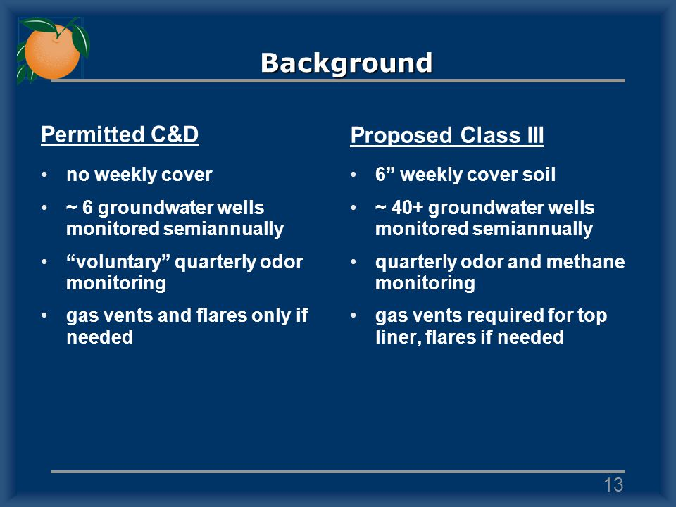 Permitted C&D no weekly cover ~ 6 groundwater wells monitored semiannually voluntary quarterly odor monitoring gas vents and flares only if needed Proposed Class III 6 weekly cover soil ~ 40+ groundwater wells monitored semiannually quarterly odor and methane monitoring gas vents required for top liner, flares if needed 13 Background