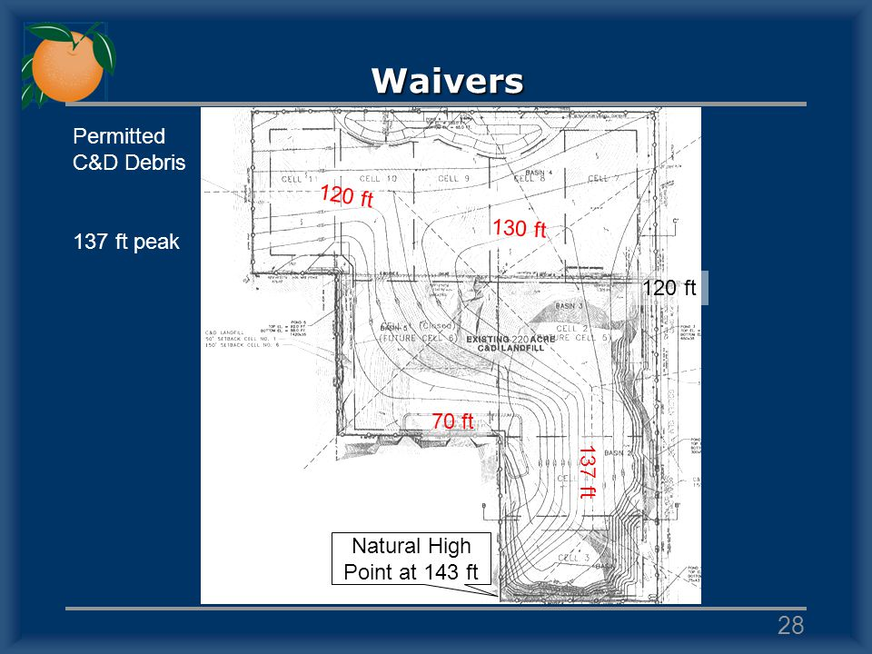 Waivers 70 ft 137 ft 120 ft 130 ft 120 ft Permitted C&D Debris 137 ft peak Natural High Point at 143 ft 28