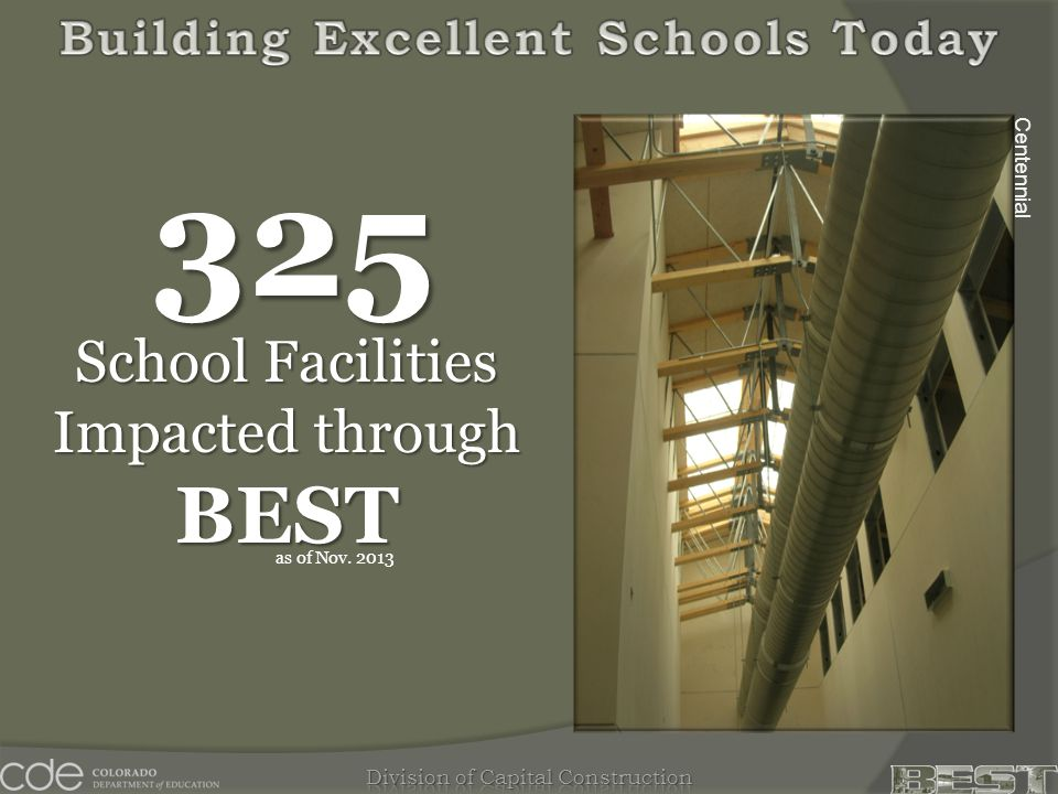 Centennial School Facilities Impacted through BEST 325 as of Nov. 2013