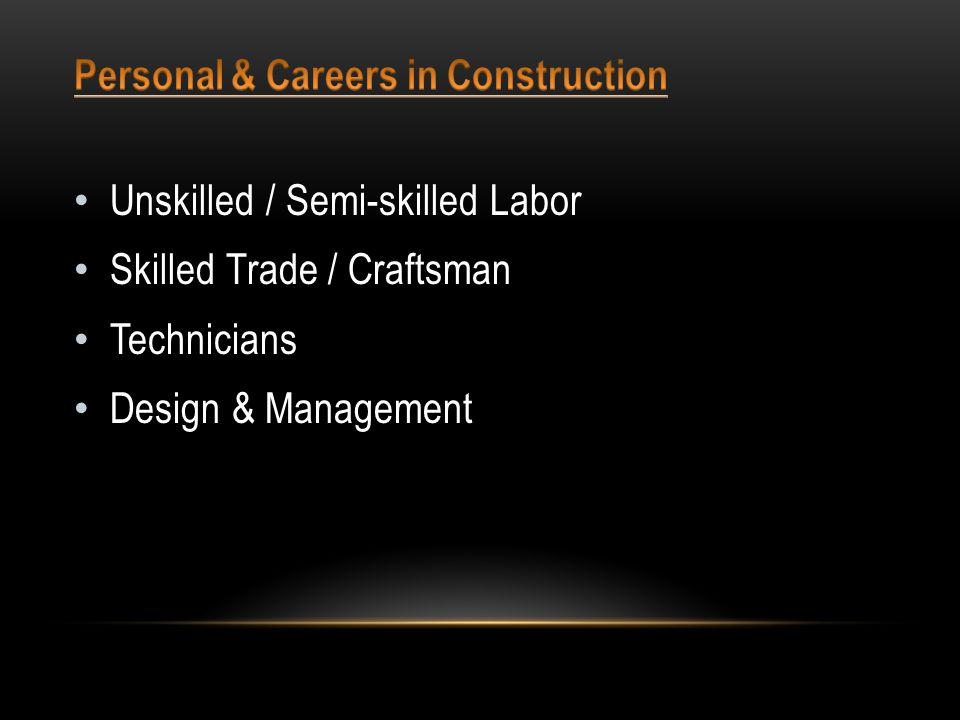 Unskilled / Semi-skilled Labor Skilled Trade / Craftsman Technicians Design & Management
