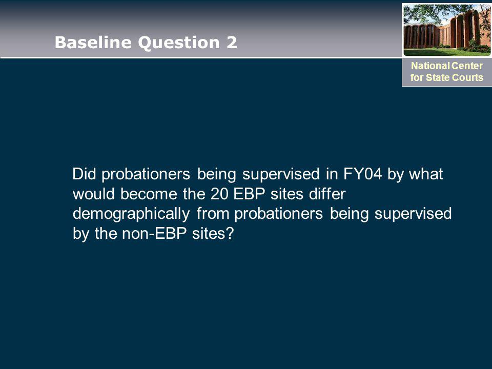 National Center for State Courts Baseline Question 2 Did probationers being supervised in FY04 by what would become the 20 EBP sites differ demographically from probationers being supervised by the non-EBP sites?