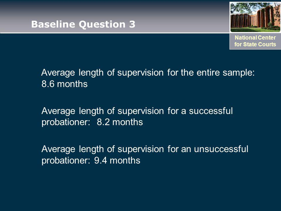 National Center for State Courts Baseline Question 3 Average length of supervision for the entire sample: 8.6 months Average length of supervision for a successful probationer: 8.2 months Average length of supervision for an unsuccessful probationer: 9.4 months