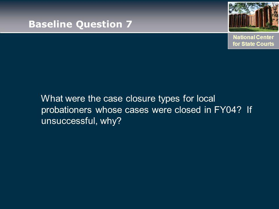 National Center for State Courts Baseline Question 7 What were the case closure types for local probationers whose cases were closed in FY04.