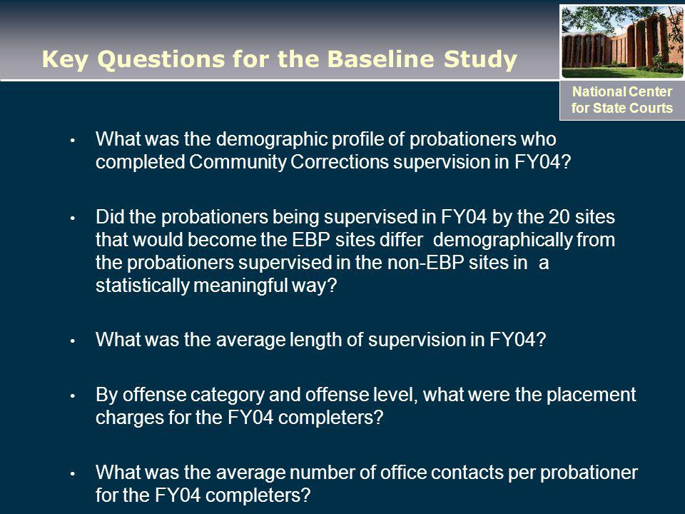 National Center for State Courts Key Questions for the Baseline Study What was the demographic profile of probationers who completed Community Corrections supervision in FY04.