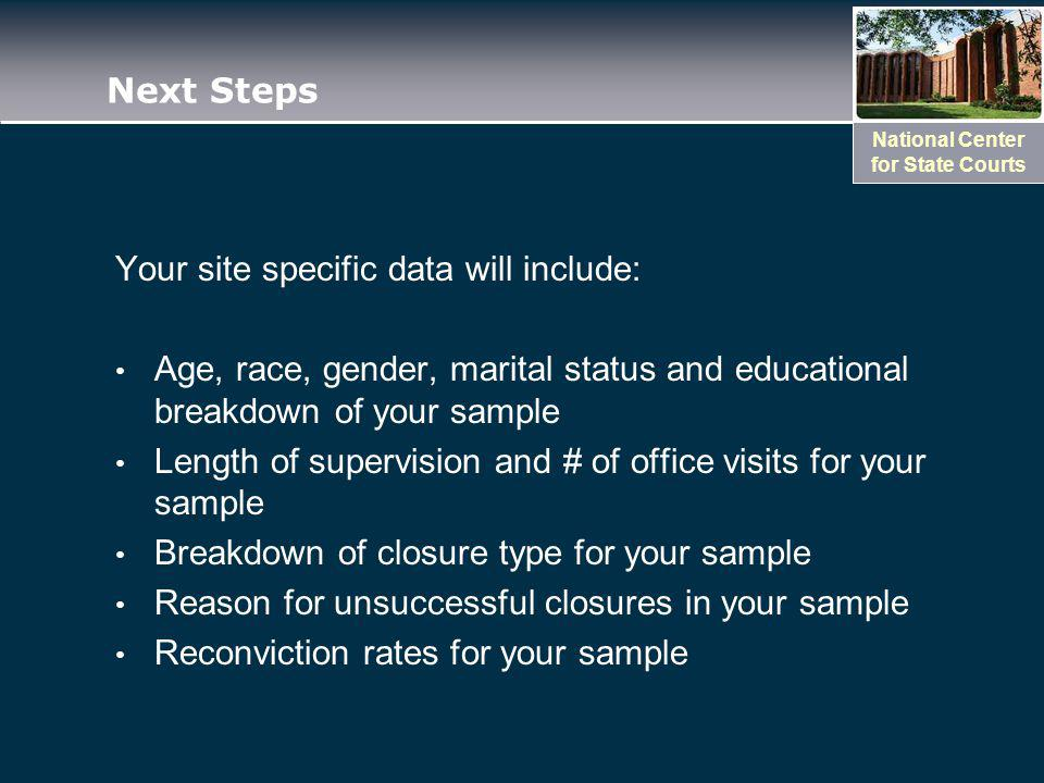 National Center for State Courts Next Steps Your site specific data will include: Age, race, gender, marital status and educational breakdown of your sample Length of supervision and # of office visits for your sample Breakdown of closure type for your sample Reason for unsuccessful closures in your sample Reconviction rates for your sample