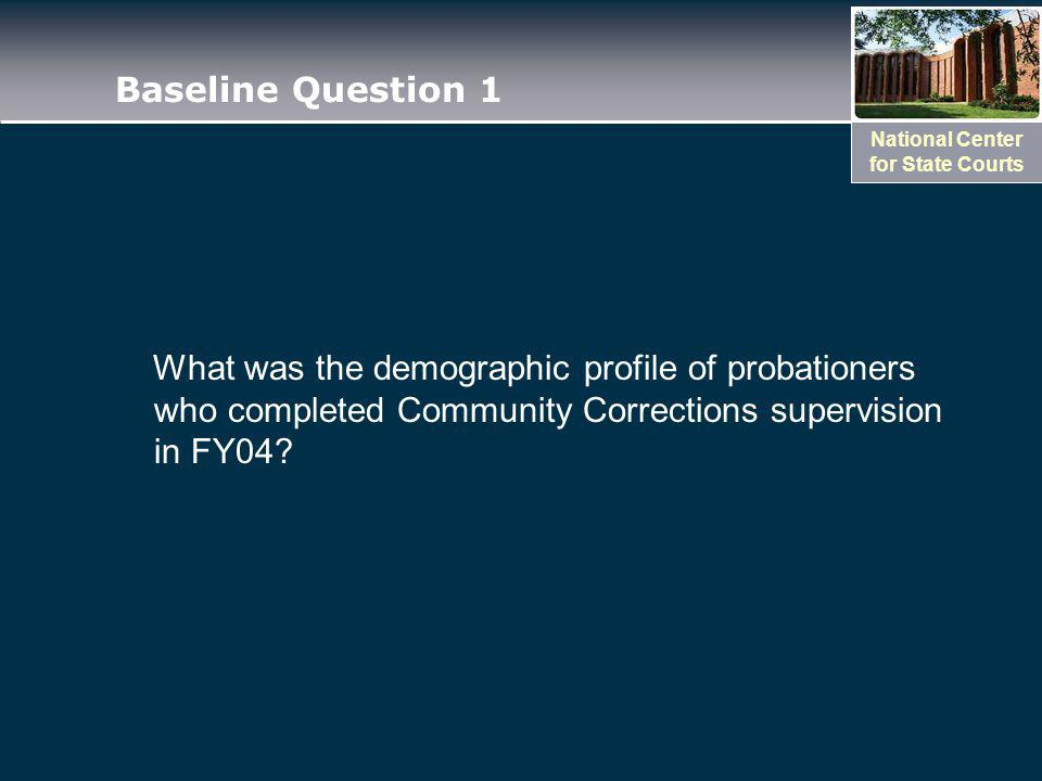 National Center for State Courts Baseline Question 1 What was the demographic profile of probationers who completed Community Corrections supervision in FY04?