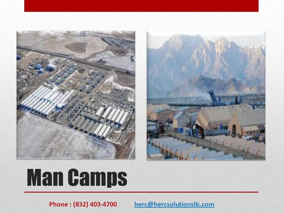 Operational Maintenance HSE provides a wide range of O&M services, ranging from facilities maintenance for the U.S Military to commercial man camps from laundry service to waste management and removal, Power, generators and light kits and general life support Phone : (832) 403-4700 herc@hercsolutionsllc.com