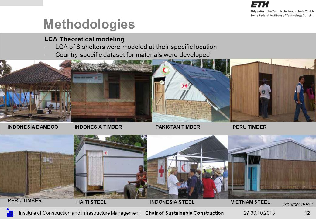 Chair of Sustainable ConstructionInstitute of Construction and Infrastructure Management29-30.10.2013 Methodologies 12 LCA Theoretical modeling -LCA of 8 shelters were modeled at their specific location -Country specific dataset for materials were developed Source: IFRC INDONESIA BAMBOO INDONESIA TIMBERPAKISTAN TIMBER PERU TIMBER HAITI STEELINDONESIA STEELVIETNAM STEEL