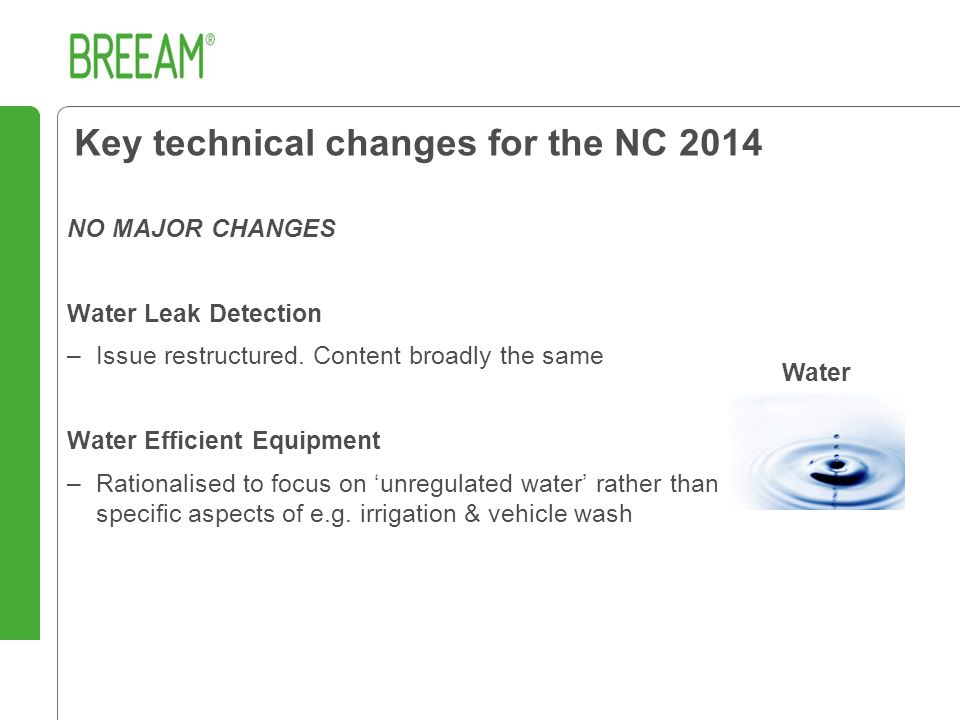NO MAJOR CHANGES Water Leak Detection –Issue restructured.