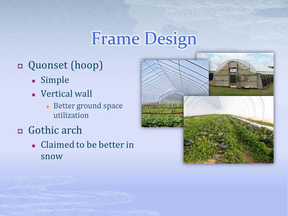 Quonset (hoop) Simple Vertical wall Better ground space utilization Gothic arch Claimed to be better in snow