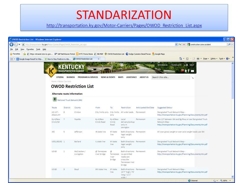 STANDARIZATION http://transportation.ky.gov/Motor-Carriers/Pages/OWOD_Restriction_List.aspx http://transportation.ky.gov/Motor-Carriers/Pages/OWOD_Restriction_List.aspx STANDARIZATION http://transportation.ky.gov/Motor-Carriers/Pages/OWOD_Restriction_List.aspx http://transportation.ky.gov/Motor-Carriers/Pages/OWOD_Restriction_List.aspx