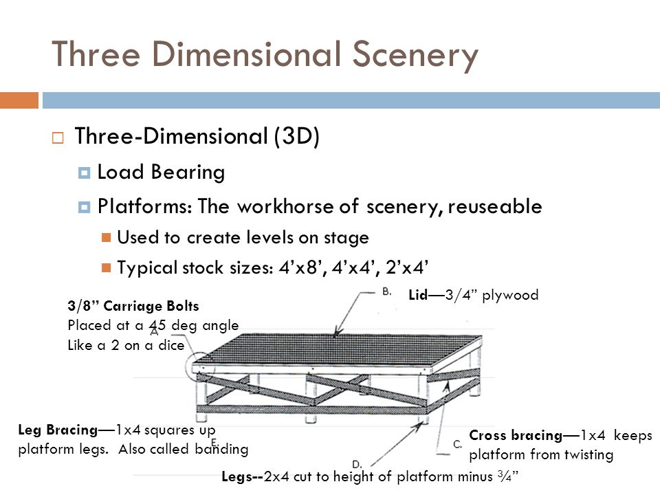 Three Dimensional Scenery Three-Dimensional (3D) Load Bearing Platforms: The workhorse of scenery, reuseable Used to create levels on stage Typical st