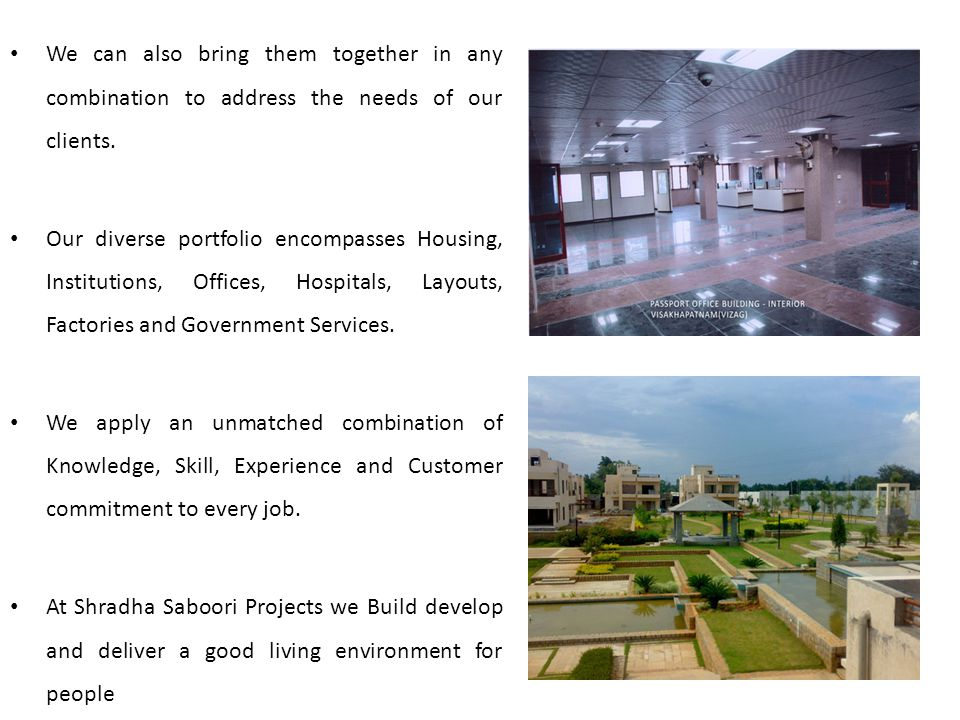 OFFICES DEPARTMENTNATURE OF WORK APHB / HYDERABADConstruction of Tangotri Anjaha Bhavan at Hyderabad APHB / HYDERABADConstruction of T.Anjaiah Bhavan Hostel at Hyderabad LIC of India /HyderabadConstruction of STC Complex at Machilipatnam LIC of India /HyderabadConstruction of Quarters at Machilipatnam LIC of India /HyderabadConstruction of Quarters at Hanmakonda R&B NizamabadConstruction of Court Building at Kamareddy CPWD - VisakhapatnamConstruction of Passport Office - Visakhapatnam