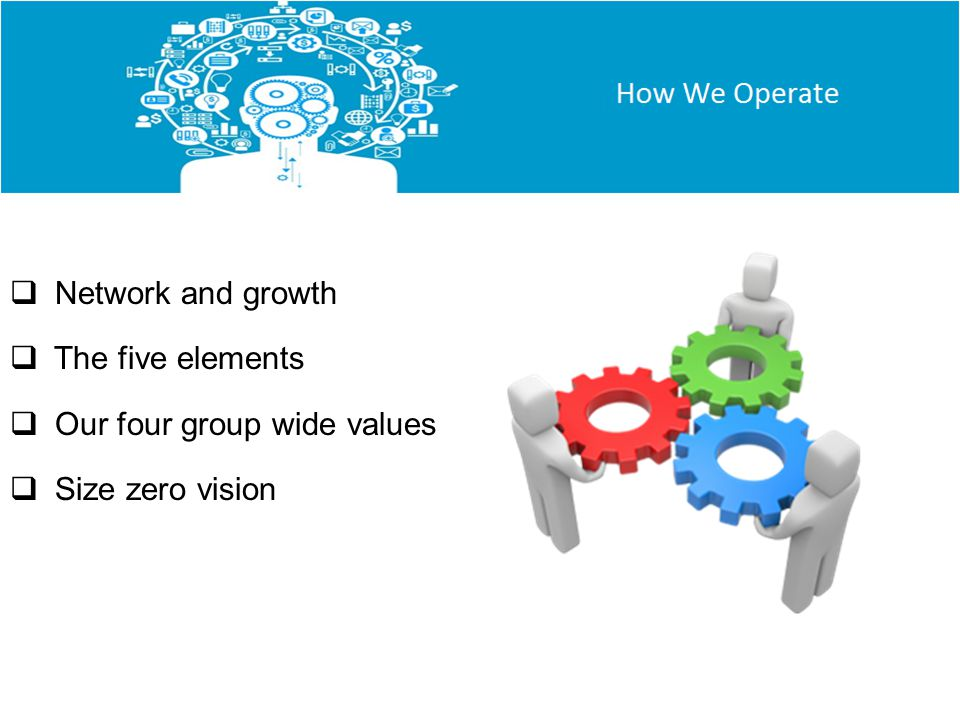 Network and growth The five elements Our four group wide values Size zero vision