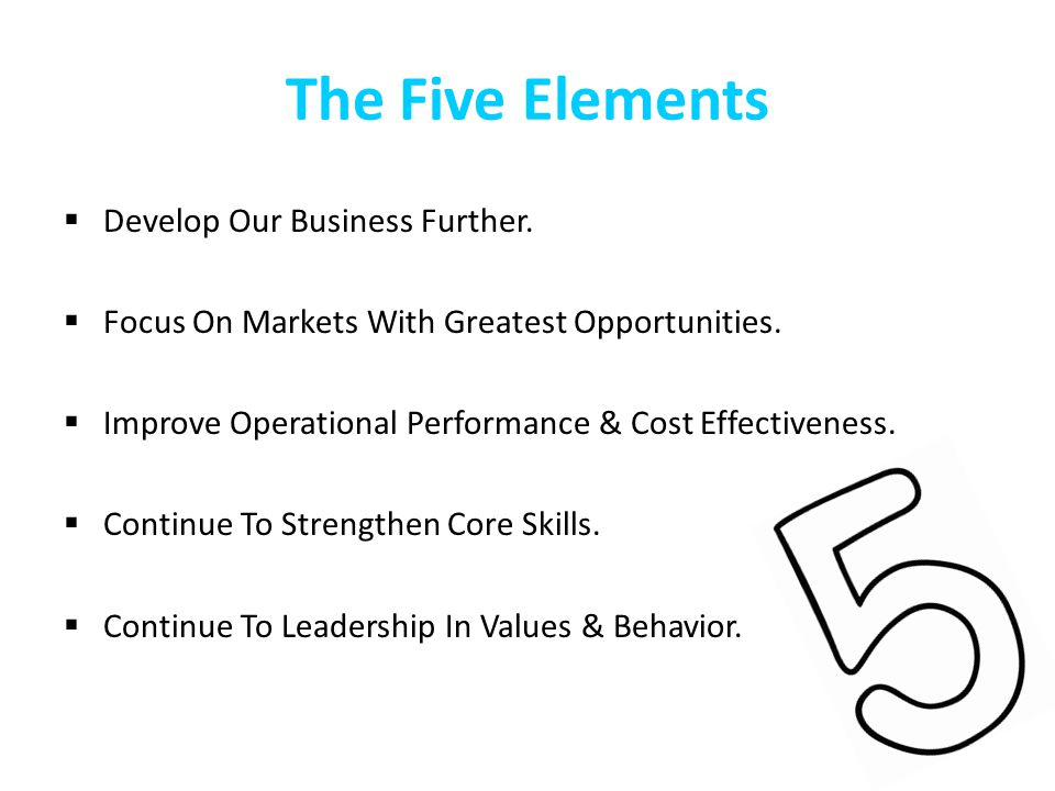 The Five Elements Develop Our Business Further. Focus On Markets With Greatest Opportunities. Improve Operational Performance & Cost Effectiveness. Co