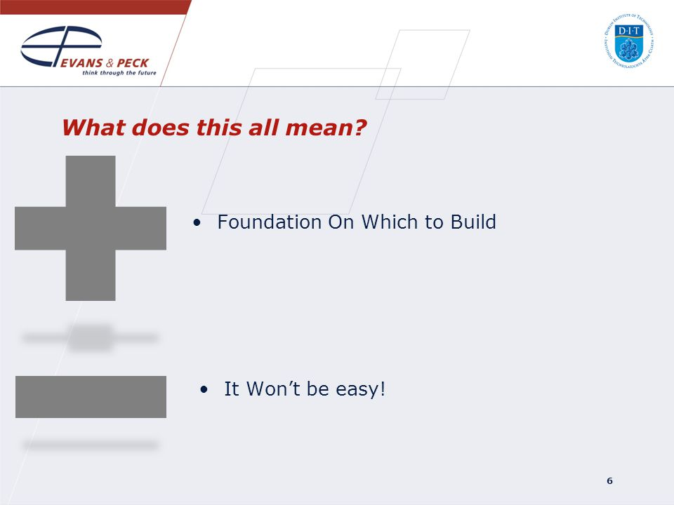 Foundation On Which to Build 6 It Wont be easy! What does this all mean?