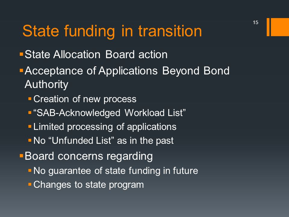 State funding in transition State Allocation Board action Acceptance of Applications Beyond Bond Authority Creation of new process SAB-Acknowledged Workload List Limited processing of applications No Unfunded List as in the past Board concerns regarding No guarantee of state funding in future Changes to state program 15